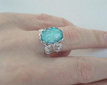 Blue Opal Ring Vintage Aqua Green Ring Man Made Opal Ring Silver Ornate Opal Ring