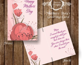 Printable Mothers Day Card |Happy Mother's Day Card |Gift for Mom| Flowers| Mothers Day| Greeting Cards| Mothers Day Gift| Digital Download