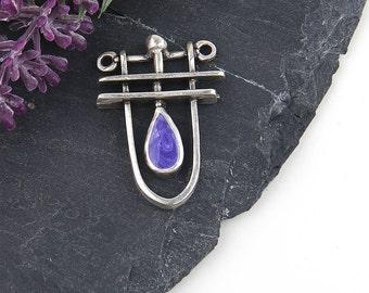 Purple, Contemporary Silver Pendant, Modern Pendant, Contemporary Necklace Pendant, 1 piece // SP-303