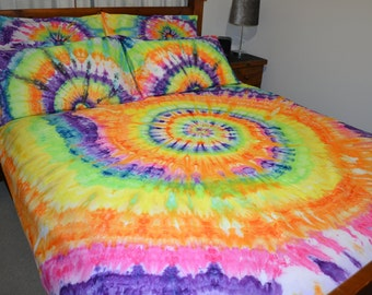 Rainbow Spiral Ice Tie Dye Bed Quilt Cover Set 100% Cotton Duvet cover with pillowcases