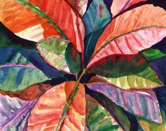 Tropical Leaves 5x7 art print from Kauai Hawaii hot pink orange exotic flower Colorful Tropical Leaves 1