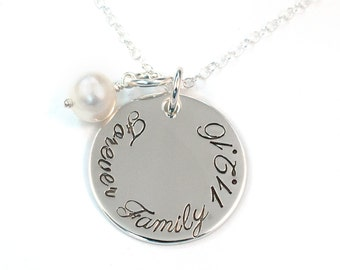 Forever Family Adoption Necklace, Gotcha Day Necklace, Hand Stamped Sterling Silver
