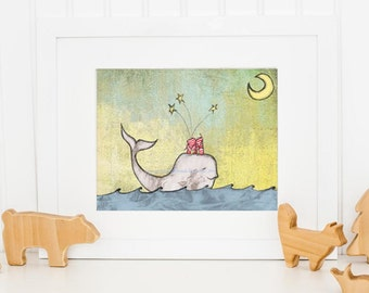 Twin Art Print: Two Twin Souls Whale of a Wish 8 x 10 Print Children's Baby Boy Nursery Artwork