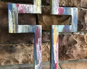Superieur Rustic Colorful Painted Wood Cross Wall Decor Farmhouse Style Cross Home  Decor