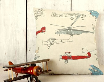 Vintage Airplane Pillow Cover - Antique Planes - Pewter Gray Pillow Cover - Boys Room - Men's Office - Taupe Pillow