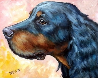 Dog Art, Gordon Setter, Gordon setter art, Gordon Setter painting,Dog Painting, Hunting Dog,Original painting, 8x10, by Dottie Dracos -SALE!
