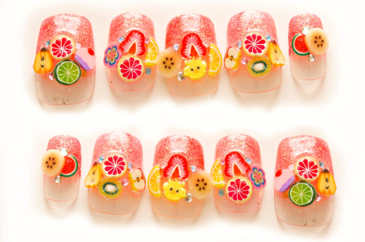 Fruit nails, summer nail art, cute nails, pretty nail, 3D nails ...