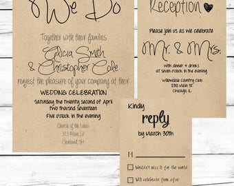 Wedding Invitation Set, Wedding Invitation Printable, Rustic Wedding Invitations, Suite, Download, We Do, Mr. & Mrs.