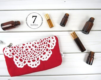 Essential Oil Case, Essential Oil Bag - LUNA in Cherry - red linen and lace, doily cosmetic bag zipper pouch essential oil storage, oils
