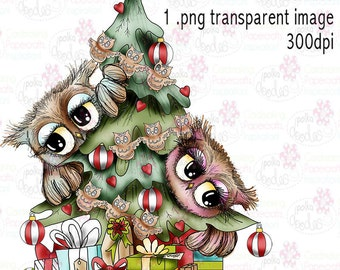 Twiggy & Toots Owl Christmas tree zwart-wit digitale stempel