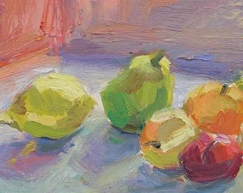 Italian still life GICLEE ART PRINT 11 x 17 fruit pears apple lemon acid green pinks
