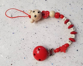 Wooden pacifier pacifier. Name to personalize. Red Star bear LOUIS