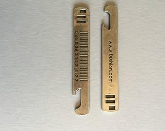silver metal bar code rule