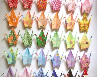 30 Large Origami Cranes Origami Paper Cranes Origami Crane - Made of 15cm 6 inches Japanese Washi Chiyogami Paper - 30 Patterns A
