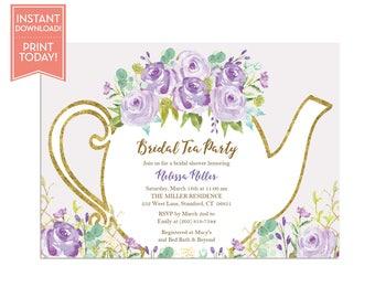 Tea Party Invitation Template Floral Teapot Bridal Shower