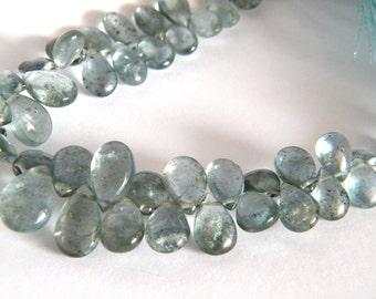 Moss Aquamarine Smooth Pear Briolette. Blue Aqua Pear Briolette Bead. Semi Precious Gemstone Briolette. 8-9mm. 6 Bead Strand