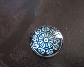 2 blue geometric pattern 20 mm round glass cabochons