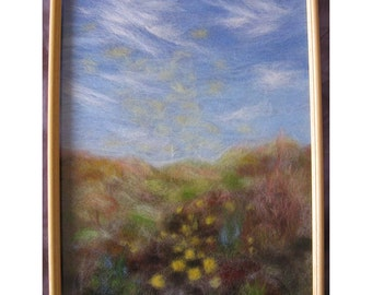 Spring Magic: The Beginning. - wool fiber art, wall hanging, wool picture
