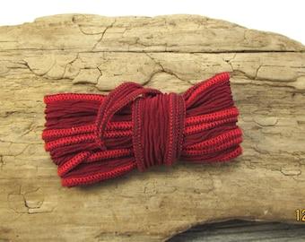 "Silk Ribbon, Dark Red Silk Ribbon, 34"" inch Red Ribbon, Made in USA, Beading Supplies, Item 1222R"