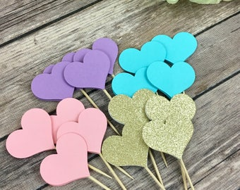 Mini Heart Toppers, Hearts, Cupcake Toppers, Baby Shower, Birthday Party, Bridal Shower