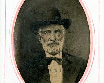Civil War Era Tintype of Elderly Bearded Southern Gentleman With Piercing Eyes Dressed in Hat, Bow Tie and Jacket - Digital Download