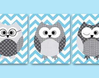 Owl Decor Owl Nursery Baby Nursery Decor Baby Boy Nursery Kids Wall Art Kids Art Baby Room Decor Nursery Print set of 3 Owl Blue Gray