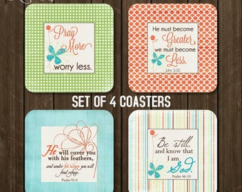Coaster set of 4, Christian Coasters, Housewarming Gift, Drink Coasters, Hostess Gift, Bible Scripture Coasters, Psalm 91:4, John 3 30 CCH1