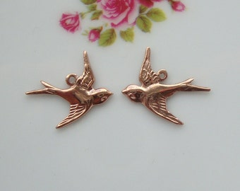 Rose Gold over 925 Sterling Silver Victorian style Swallow, flying left sparrow, bird Charms, rose gold bird pair, fit 20-22 ga wire