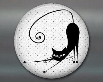 "3.5"" black cat magnet, cat fridge magnet, kitchen decor, large fridge magnet,  cat decor, housewarming gift  MA-1026"