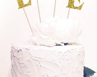 Love Cake Topper, Love Glitter Sparkle Chic Wedding decor, Glitter both sides.