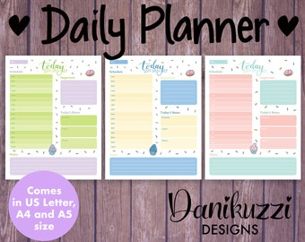 Daily Planner Printables - Cupcake-themed. Comes with 3 Designs. Bullet Journal Daily Insert. US Letter, A4, A5 Size
