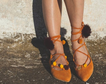aelia/lace up/pointed toe flats/orange camel /greek designer/pom pom /gold coins/handmade shoes/pointy flat/free shipping