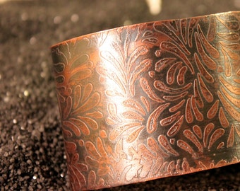 Darkness of Fall - Etched Copper Cuff Bracelet