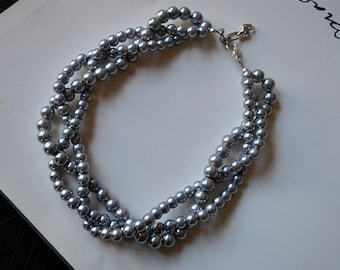 Chunky Pearl-3 Strand- Twisted Statement Necklace-Made to order