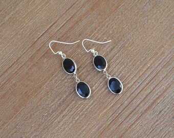 CLOSEOUT Black and Silver Earrings - Black Rhinestone Earrings - Black Dangle Earrings - Black Drop Earrings - Black Glass Oval Earrings