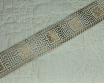 Conso Jacquard Aztec Ribbon Trim - 1 3/4 Inches Wide Greek Key Design - 3 Yards
