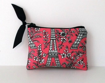 Coin Purse, Business card holder, Gift card case, small gadget bag, Eiffel Tower purse, Little pink pouch