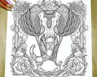 Graceful Elephant - Adult Coloring Page Print