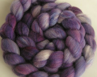 Fiber Roving Top BFL Silk My HYACINTH Top Hand Painted Wool Spin Felt Craft Roving BFL Wool silk Blend 4 ounces