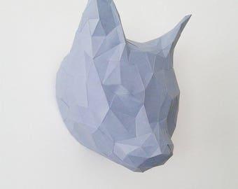 Geometric origami cat trophy