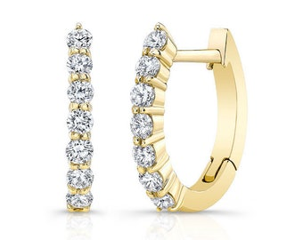 Barkevs, Yellow Gold & Diamond Hoop Earrings, Gold Earrings, Diamond Earrings, Earrings, Hoop Earrings, Diamond Huggie Earrings, M2001EY