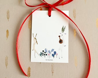 Gift tags set, deer and rabbit gift tags, woodland gift tags, animal gift tags, christmas gift tags set