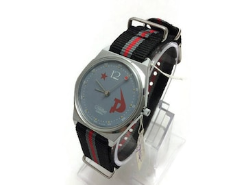 N.O.S. Vintage as New! USSR Soviet Quartz mens watch SLAVA Soviet symbolism gray beautiful dial Hammer and Sickle Red Star 12. Gift for him