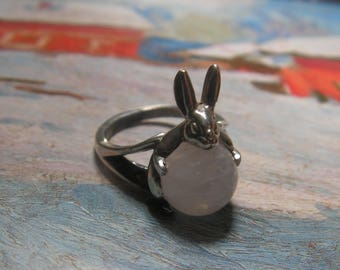 Rabbit Ring Sterling Silver With Rose Quartz