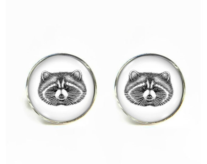 Raccoon small post stud earrings Stainless steel hypoallergenic 12mm Gifts for her