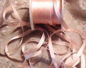 5 yards rose blush silk ribbon in 7mm  #564