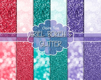 """Ariel digital paper: """"ARIEL BOKEH & GLITTER"""" with glitter and bokeh backgrounds in purple, lavender, green and red"""