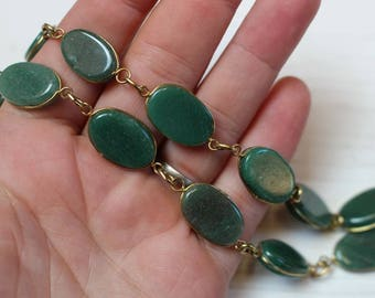 SALE Vintage wire wrapped aventurine necklace