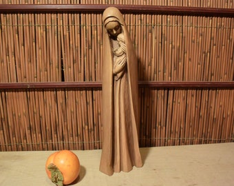 Wood Carved Statue Of Madonna And Child Hans U Adolf Heinzeller Germany 13 Inches Tall Modernist