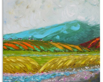 Large artwork Vivid painting Pastoral painting Workart Southern artist Countryview Impressionistic Landscapeart Oilpainting Originalpainting